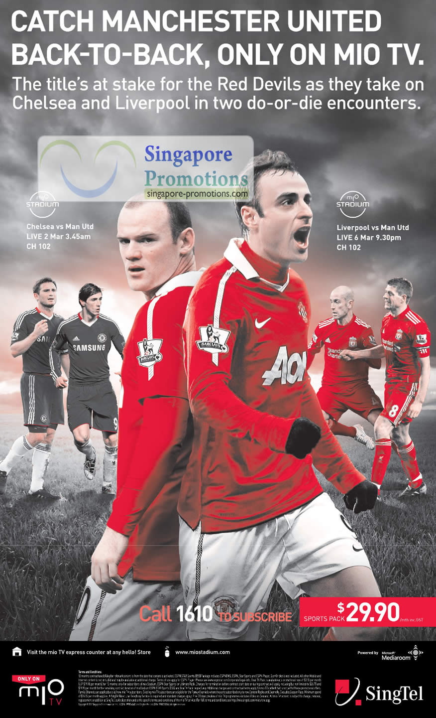 Mio TV, Manchester United, MIO STADIUM, Sports Pack Singtel Mobile ...