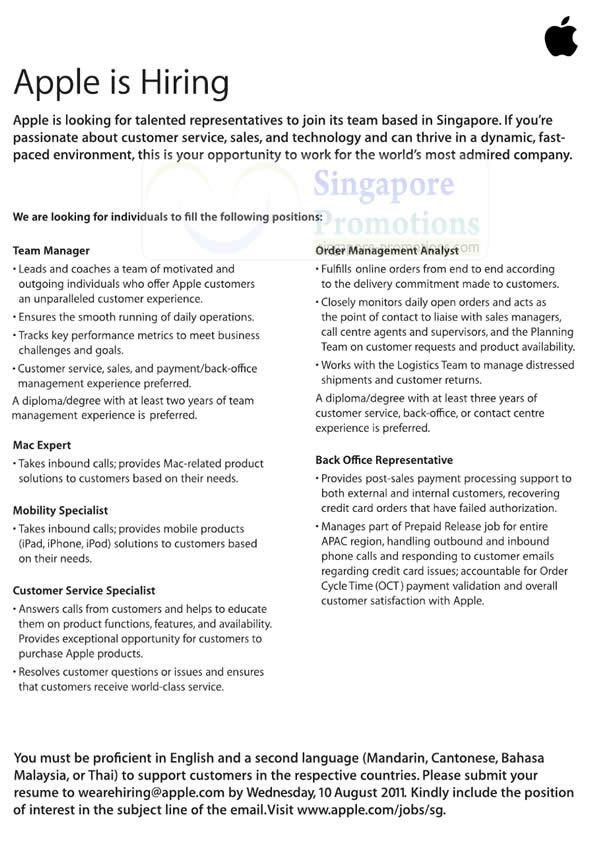 Apple Singapore 3 Aug 2011 Apple Singapore New Job Positions Open ...