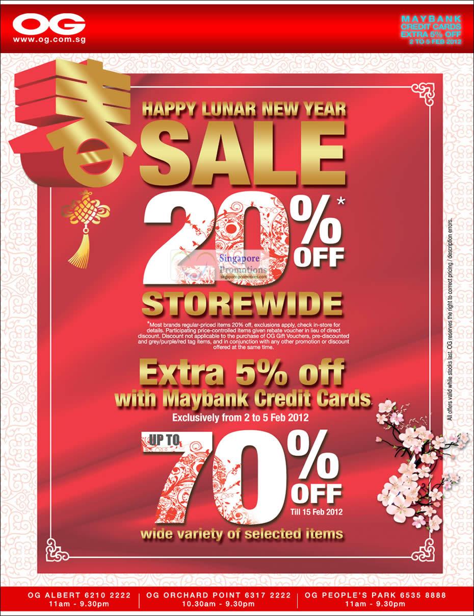 OG 2 Feb 2012 OG Happy New Year Sale Up To 70% Off & 20% Off